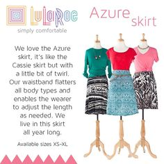 LuLaRoe Azure Skirt $35 lots of prints and colors. Join the group to see my inventory and shop! www.facebook.com/groups/LuLaRoe.Northshore