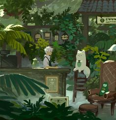 Remus with his greenhouse-coffeeshop he doesn't have Arte Do Kawaii, Kawaii Art, Pretty Art, Cute Art, Aesthetic Art, Aesthetic Anime, Japon Illustration, Anime Scenery, Cute Drawings