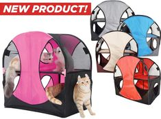 Cats will find plenty to keep them busy while playing in the Pet Life Kitty-Play Obstacle Collapsible Cat House. This lightweight, yet durable cat house is crafted with see-through mesh and nylon on a robust metal frame. The multiple entrances and a two-story design are built for play and lounging. It's easy to assemble and collapses down for space-saving storage.