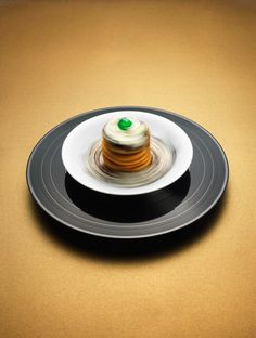 """Deserts spinning on at """"33 RPM"""" by Philip Karlberg. Pancakes, chocolate mousse & cream."""