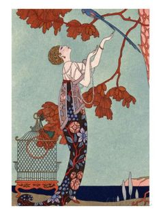 art nouveau home decor print of woman looking up at bird in red tree by barbier is part of Art deco illustration - Art Nouveau Home Decor Print of Woman Looking up at Bird in Red Tree by Barbier artNouveau Print Retro Poster, Poster Vintage, Vintage Art, Art Deco Illustration, Arte Fashion, Art Deco Fashion, Fashion Mode, Ladies Fashion, Fashion Addict