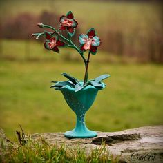 Polymer clay turquoise, red and white orchid...