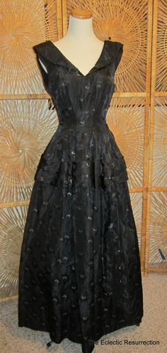 Vintage 1950s Ball Gown-Party Dress-Formal-Black Brocade. $200.00, via Etsy.