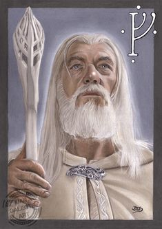 Lord of the Rings´s Gandalf the White played by Sir Ian Mckellen. CarbOthello pastel pencils with some Prismacolor Premier strokes on Canson Mi Teintes flanell grey. Gandalf Tattoo, Hobbit Tattoo, Lotr Tattoo, Hobbit Art, O Hobbit, Fantasy Words, High Fantasy, Tolkien, Dungeons And Dragons