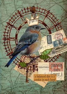 Collage original pour vous à imprimer et accrocher, vintage, collage, art, fantaisie, romance, steam punk, fées, amis, soeurs, l