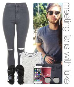 """meeting fans with luke"" by awk0cass ❤ liked on Polyvore featuring Topshop, RD Style, Ancient Greek Sandals, Yves Saint Laurent and Christian Dior"