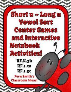 Vowel Sorting Short u & Long u Center Games and Interactive Notebook Activities #Reading #TPT #Teacher www.FernSmithsClassroomIdeas.com