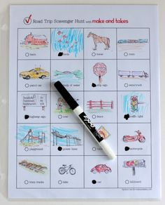 Cute road trip scavenger hunt printable for kids