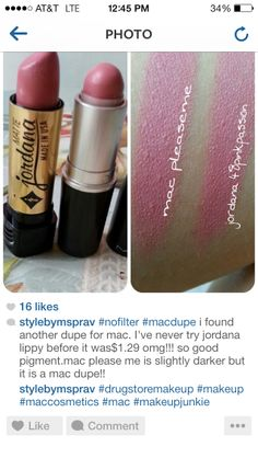 Lip dupes jordana pink passion Mac Please Me lipstick matte
