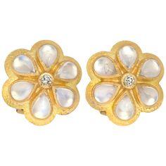 Elizabeth Locke Moonstone Diamond Gold Earrings | From a unique collection of vintage stud earrings at https://www.1stdibs.com/jewelry/earrings/stud-earrings/