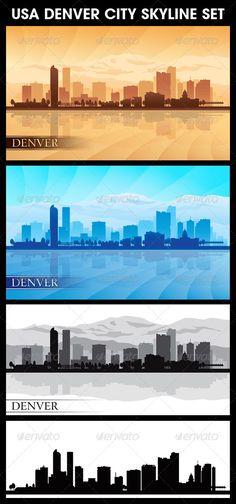 Denver USA City Skyline Silhouettes Set