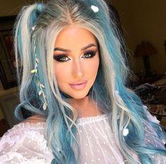 cheap full lace wigs human hair long blue wig with bangs dark blue and light blue hair cheap rainbow wigs Ombré Hair, Lace Hair, Hair Dye, Bun Hair, Ombre Hair Color, Cool Hair Color, Hair Colour, Blonde Hair With Color, Funky Hair Colors