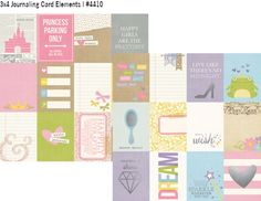 12x12 3x4 Journaling Card Elements Paper