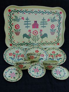 Old Vintage 1950s J Chein Co Tin Toy Tea Set Rooster Pattern