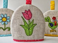 SewforSoul: Applique 'Spring Tulip' Egg Cosy with Free Motion Machine Embroidery.  Flowers Theme.