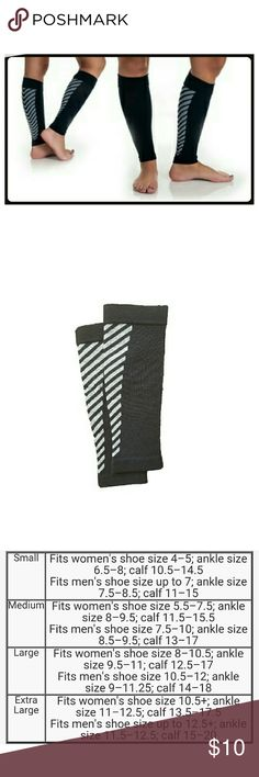 REMEDY Calf Compression Sleeves These sporty and stylish calf compression sleeves will help keep your muscles from cramping for longer and more pleasurable runs. Great for working long periods on your feet..Nurses, Waiters, Waitress, Bartenders. Great for Airline Cabin Staff and long distance travelers. Too tight for my calves. So never wore them. SEE SIZE CHART ABOVE Remedy Accessories Hosiery & Socks