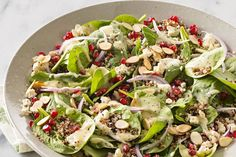 Pomegranate-Quinoa Spinach Salad Quinoa lends its nutty flavor to this spinach salad recipe that's as lovely as it is delicious. Plus its topped with tasty pomegranate seeds and toasted almonds to add extra crunch. Quinoa Spinach, Spinach Salad Recipes, Healthy Salad Recipes, Kraft Recipes, Healthy Cooking, Healthy Eating, What's Cooking, Healthy Food, Wild Rice Salad