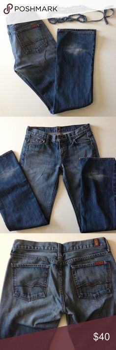 7 For All Mankind jeans Medium/light wash Bootcut jeans. Great basic for fall and winter! If these fit me, I'd be wearing them everyday. In really good condition. Some fading on back of legs toward bottom. 7 For All Mankind Jeans Boot Cut