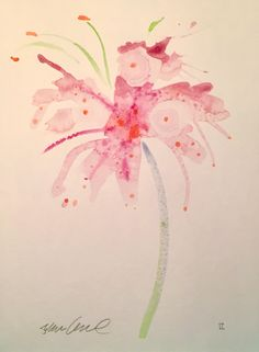 "Steve Klinkel ""Soft Pink Lily"" Watercolor Painting on Chairish.com"