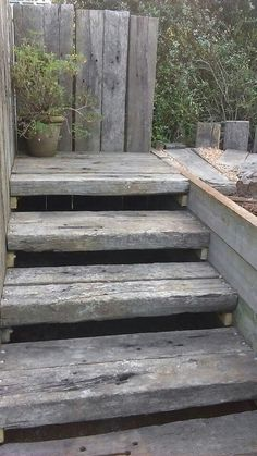 I had the tread made double width and used upright sleepers as a feature and a handrail. Back Gardens, Small Gardens, Backyard Garden Design, Garden Landscaping, Sleepers In Garden, Railway Sleepers, Outdoor Steps, Tiered Garden, Garden Stairs