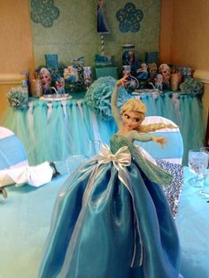 Frozen girl birthday party decorations! See more party ideas at CatchMyParty.com! Disney Frozen Birthday, Frozen Birthday Party, Halloween Birthday, Girl Birthday, Birthday Ideas, Happy Birthday, Kids Party Themes, Birthday Party Decorations, Party Ideas