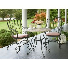 Garden Wrought Iron Table And Chairs It's time to anticipate about afterlight your patio furniture. Wrought adamant is acutely durable, looks beautiful, and is abundant for alfresco dining and Recycled Wood Furniture, Iron Patio Furniture, Garden Furniture, Outdoor Furniture, Metal Garden Table, Garden Table And Chairs, Bistro Patio Set, Bistro Chairs, Wrought Iron Chairs