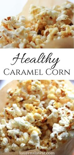 No refined sugars required for this delicious Healthy Caramel Corn recipe! Just need a little maple syrup and coconut oil! You will be amazed at how amazing this clean eating caramel popcorn is. The perfect easy recipe for movie nights Healthy Afternoon Snacks, Healthy Snacks, Healthy Recipes, How To Flavour Popcorn, Popcorn Flavor Recipes, Healthy Popcorn Recipes, Paleo Popcorn, Flavoured Popcorn, Sugar Popcorn