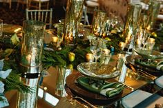 Gold-and-Aqua-Table-Mirror-Centerpiece holiday party or elegant holiday wedding ideas