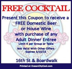 Ocean View Grill and BBQ Coupon for a Free Cocktail at 16th St and Boardwalk, Ocean City MD #OCCoupons #ocmd