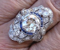 Art Deco platinum sapphire diamond ring <3