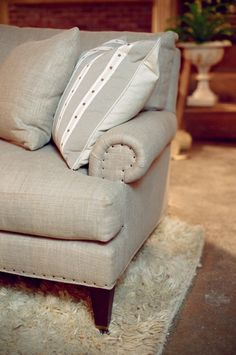 Belgian Linen Sofa With Nail Head Trim By Lee Industries