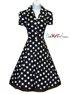 Black Large Polka Dot Swing 50s Housewife Pinup Dress Vintage Rockabilly 6839 | eBay