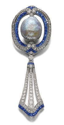 Sapphire, diamond and cultured pearl brooch, circa 1910 with later modification.