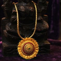 Chakradharini Round Pendant Designer Necklace in temple jewellery silver gold plated collection