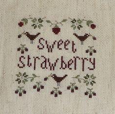 Sweet strawberry cross stitch freebie from Cosmic Handmade