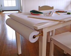 art table maker space ikea may have paper roll holders add bars to