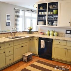 paint kitchen cabinets with chalk paint I used Annie Sloan Old Ochre for the top cabinets and Versailles for the bottom cabinets.