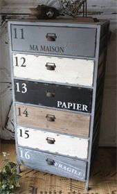 craft storage with contents stenciled on outside