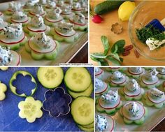 Beautiful food art with Cucumber. 1st Birthday Foods, Raw Cheese, Mini Appetizers, Cucumber Appetizers, Cheese Snacks, Dessert Drinks, Appetisers, Cute Food, Creative Food
