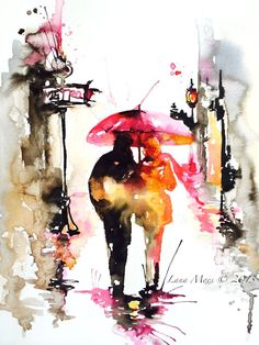 Love Romance Kiss Print from Original Watercolor Painting - Watercolor Illustration by Lana Moes