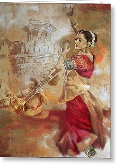 Kathak Dancer 8 Greeting Card by Corporate Art Task Force