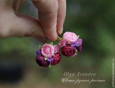 Купить Серьги с пионами. - бордовый, пионы, серьги с цветами, миниатюра, цветы из полимерной глины