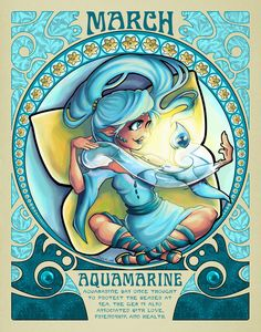 "Pisces: ""Birthstones Nouveau ~ March,"" by cute-loot, at deviantART. Zodiac Art, Astrology Zodiac, Zodiac Signs, Horoscope Signs, March Baby, Hello March, March Pisces, Pisces Woman, Sagittarius"