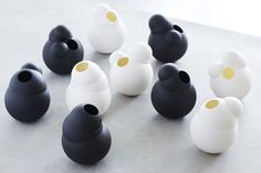 Belgian design studio Fou de Feu has created two collections of ceramics including vases shaped like soap bubbles.