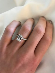 Any girl would say yes to this stunning engagement ring! I love emerald Cut engagement ring. One day my husband will upgrade my ring, hopefully this beautiful one. Best Engagement Rings, Beautiful Engagement Rings, Beautiful Rings, Wedding Engagement, Emerald Cut Engagement Rings, Emerald Cut Rings, Wedding Ring Emerald Cut, Wedding Bands, Emerald Cut Diamonds