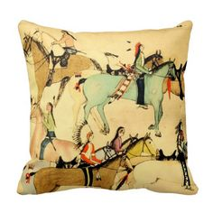 Native American Indians Horses Western Art Vintage Throw Pillow