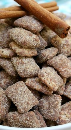 Chocolate Churro Muddy Buddies is part of Puppy chow recipes - This Chocolate Churro Muddy Buddy is basically a churro wrapped in a chocolate ganache brought to you as bite sized snack Puppy Chow Recipes, Chex Mix Recipes, Snack Recipes, Dessert Recipes, Cooking Recipes, Recipes Dinner, Potato Recipes, Pasta Recipes, Crockpot Recipes
