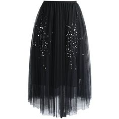 Chicwish Shining Stars Mesh Tulle Skirt in Black ($52) ❤ liked on Polyvore featuring skirts, black, black skirt, evening skirts, sparkle skirts, tulle slip, tulle ball skirt and chicwish skirts