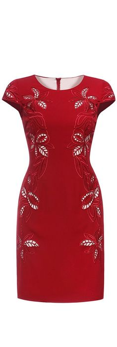 Red Hollow Short Sleeves Dress