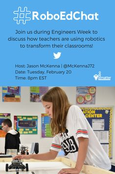 Join our Director of Educational Strategy, Jason McKenna, on Twitter next Tuesday evening for #RoboEdChat! We will be discussing how teachers are using robotics to transform their classrooms.